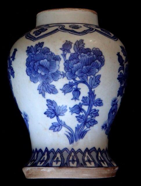 Ancien vase pot couvert Chine blanc bleu Old chinese porcelain blue white qing