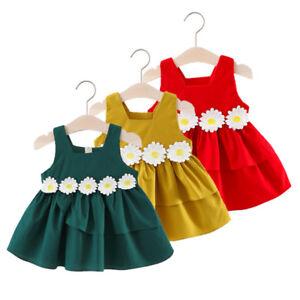 2018 Dress Floral Girls Princess Cross Summer Baby Cotton Party Sleeveless Dress