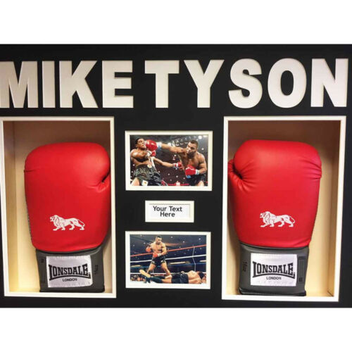 BOXING GLOVE DISPLAY CASE// 3D BOX FOR 2x Mike Tyson Signed Gloves with 3d Text