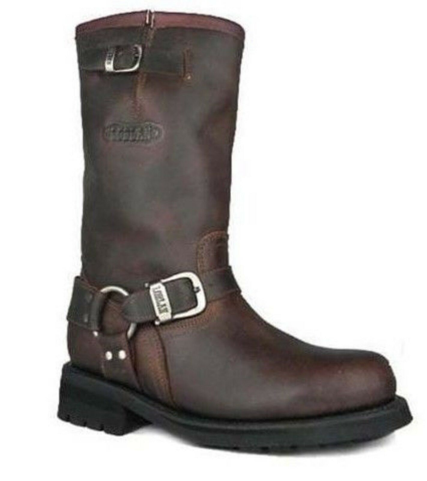 Loblan 501 Braunes Wachs Leder Herren Biker Stiefel Klassisch Rund Handgefertigt