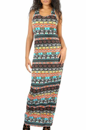 Ladies Womens Floral Muscle Racer Back Summer Sunny Jersey Fit Vest Maxi Dress