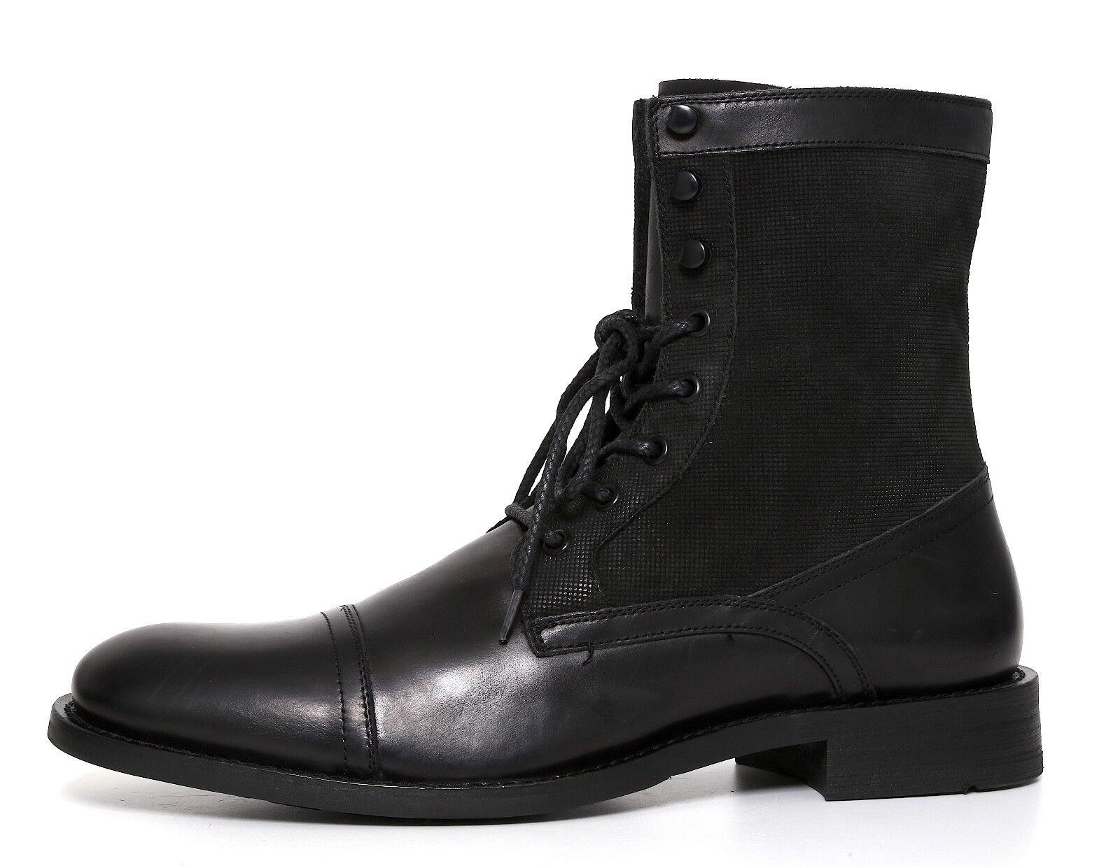 Kenneth Cole Don't Mind Me Leather Combat Boot Black Men Sz 12M 5008
