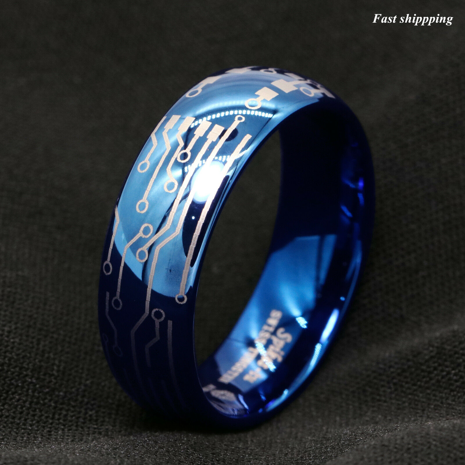 8mm Shiny Blue Dome Tungsten Carbide Ring Laser Circuit Board Atop Jewelry Pls Carefully Choose The Right Size According To Detailed Chart In Description Possibly Avoid Trouble Of Return And Exchange