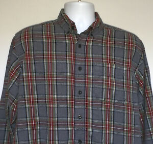 Mens-LL-Bean-Plaid-Flannel-Shirt-large-gray-100-cotton