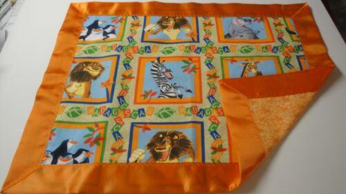 Madagascar Lovey-Lion-Giraffe-Zebra-Penguin-Cotton Fabric-Orange Raso Binding
