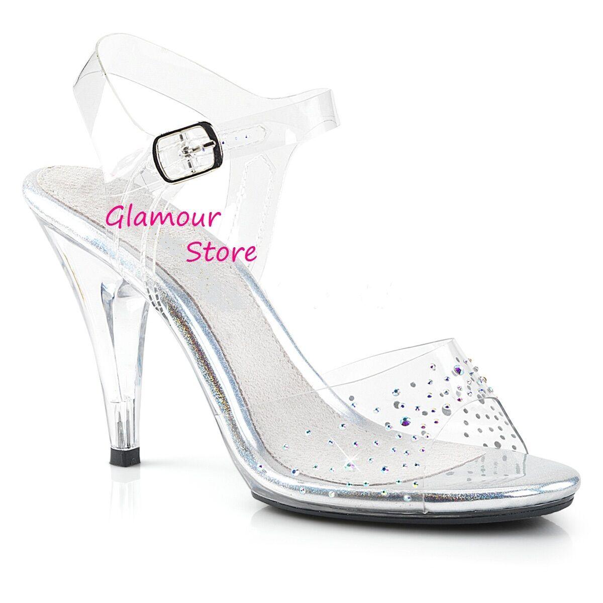 Sexy SANDALI STRASS TRASPARENTI tacco 10 dal 35 al 43 chaussures GLAMOUR fashion