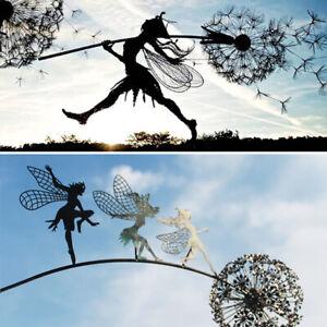 Metal Flower Fairy Dandelions Statues Dance Together Yard Ornaments Garden Decor