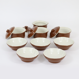 SOLID Set of 9 Bowls and 4 Lids (13 Pieces) Brown Exterior and Beige Interior