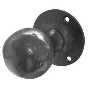 Fullbrook 7129R Black Cast Iron Antique Oval Style Rim Door Knob Set