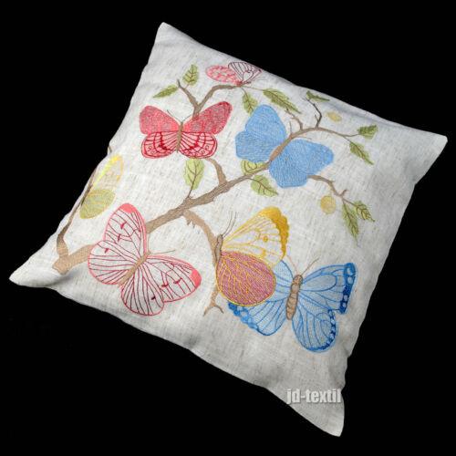 Kissenhülle LEINEN Optik Sofa Sessel Kissenbezug 40x40cm Schmetterling Frühling