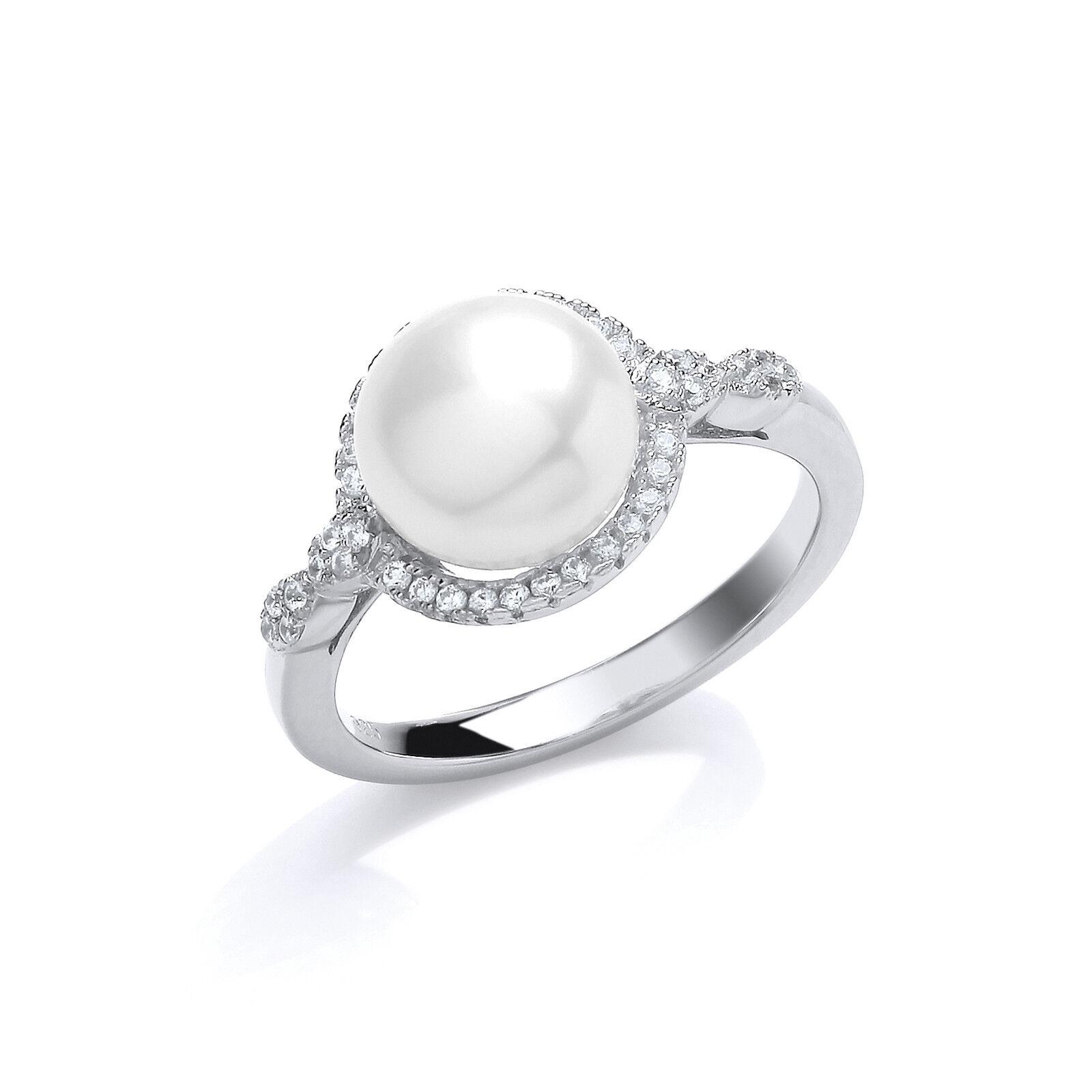 PERLA ANELLO perla d'acqua dolce placcato platino argentoo sterling Halo Halo Halo anello 9d073a