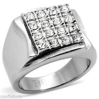 Sixteen Crystal Stones Modern Design Silver Stainless Steel Mens Ring