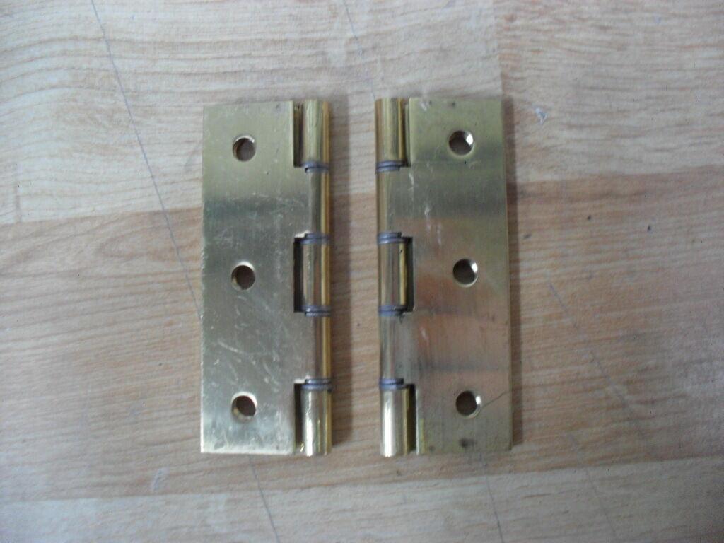 2 x en acier double double double WasheRouge laiton poli butt charnières de porte 3