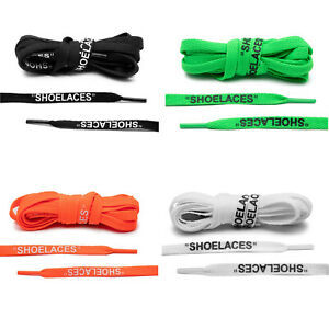 Lace-Lab-Off-White-Style-034-SHOELACES-034-Shoe-Laces-Black-White-Green-amp-Orange