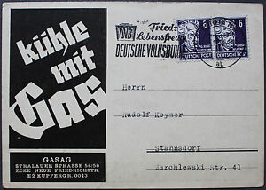 DDR 1950, Werbekarte der GASAG Berlin \