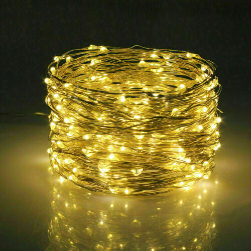 5-40M Solar Powered 50-400 LED Silver Copper Wire String Fairy Lights Waterproof