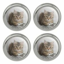 Cat Silhouette Metal Craft Sewing Novelty Buttons Set of 4