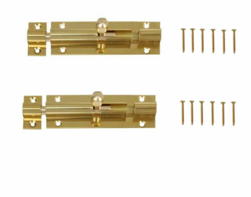 "x 2 Barrel Bolt Bathroom//Toilet Door Lock Sliding Solid Brass 75//100m 3 or 4/"""