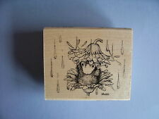 HOUSE MOUSE RUBBER STAMPS RAIN FLOWER NEW WOOD STAMP