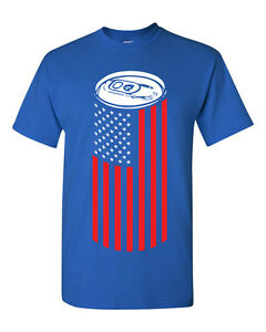 Beer-Can-American-Flag-USA-College-Drinking-Men-039-s-Tee-Shirt-1440