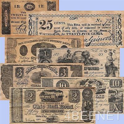 pre CIVIL WAR - OHIO replica currency 7 NOTE SET parchment money prints NEW