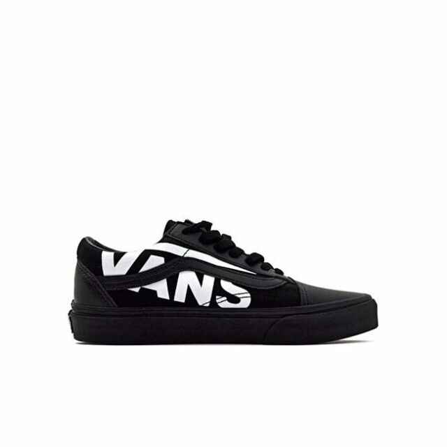 Vans Mens Old Skool Large Logo Black White Leather Canvas Skate Shoes Size 13 For Sale Online Ebay