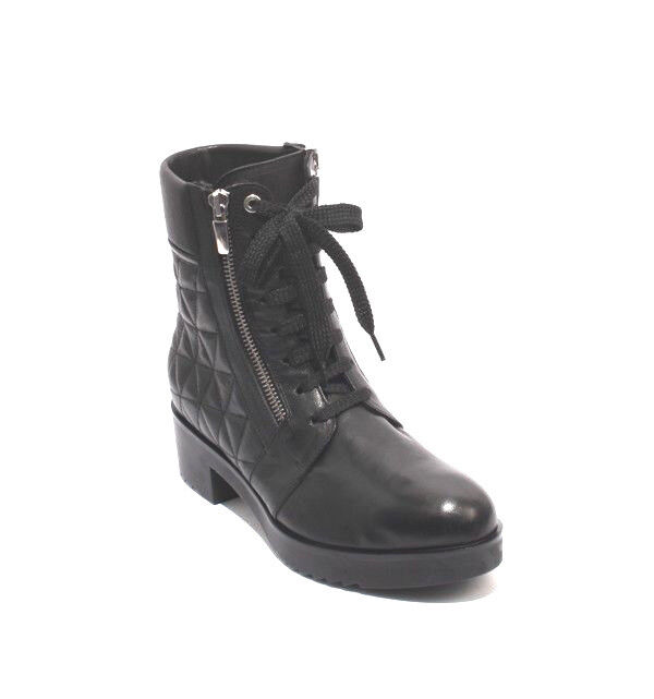 MOT-CLe 701b Black Leather Platform Zip Lace-Up Ankle Heel Boots 37.5   US 7.5