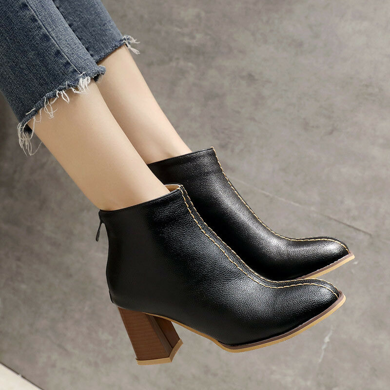Women Casual Zip High Heels Round Toe Comfortable Ankle Boots Shoes Size 33-45