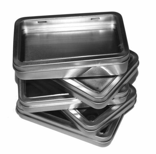 5  BLANK METAL TIN W// CLEAR HINGED LID RECTANGULAR 7OZ CONTAINER  SURVIVAL KIT