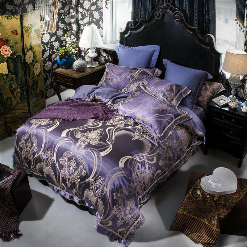 Luxury 4pc.Dark viola Jacquard Silk Cotton Queen King Dimensione Cotton Duvet Bed Set