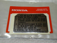 HONDA CAUTION AIR FILTER LABEL STICKER DECAL XL100 XL125 XL175 TL250 OEM PART