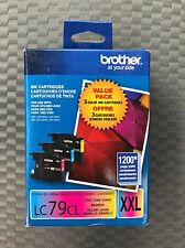 (3) LOT Genuine Brother LC79CL XXL Color Ink Cartridge Cyan Magenta Yellow - NEW