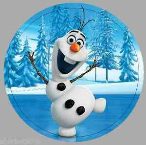 24 X 40mm Round Stickers Frozen Olaf Not Personalised