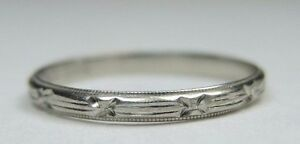 Antique-Vintage-Women-039-s-Keepsake-Wedding-Band-14K-White-Gold-Ring-Size-5-UK-J1-2