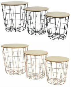 METAL-WIRE-WOOD-TOP-STORAGE-SIDE-TABLE-STOOL-NESTING-BASKET-STACK-ABLE-STACKING