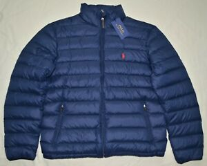 POLO LAUREN coat jacket M zu Details Navy RALPH down Medium blue packable New puffer Mens rdoxCBe