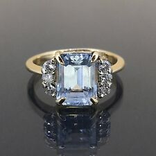 Estate 14k Yellow gold Natural Emerald cut Aquamarine & VS Diamond ring 3.51ctw