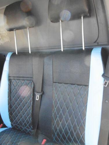 MERCEDES SPRINTER VAN 2006 SEAT COVERS CROSS STITCH BLUE FULL LEATHERETTE
