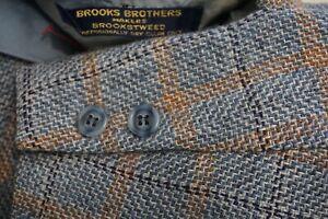 Brooks Brothers Makers Brookstweed Blue Orange Plaid 3/2 Sports Coat Jacket 40S