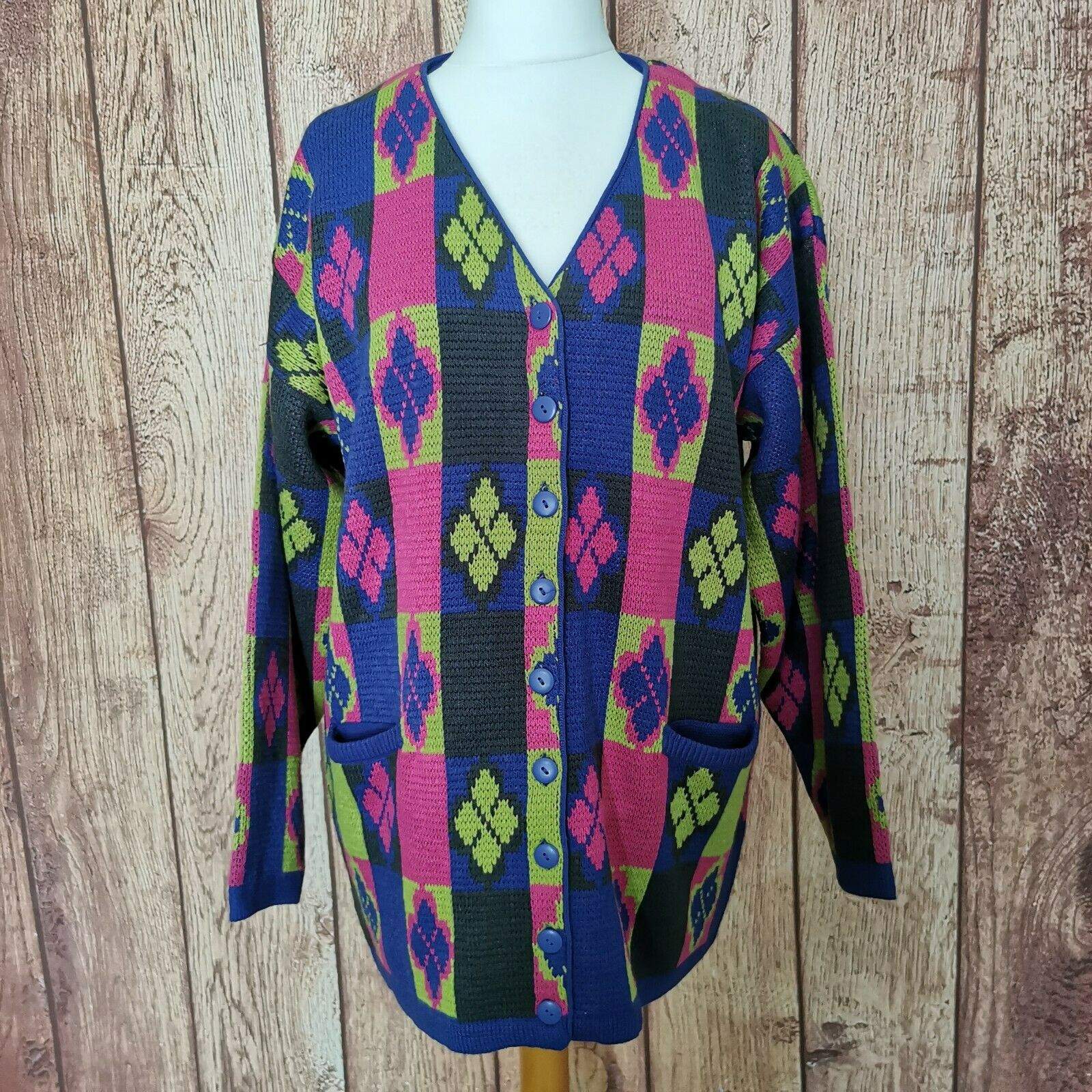Vintage Prestige Collection Cardigan One Size Purple Green Pink 80s Grannycore