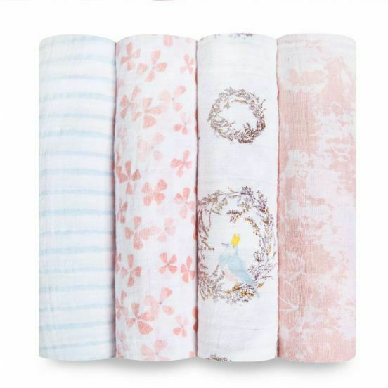 Aden and Anais Muslin Large Baby Swaddle Wraps 4 Pack - Birdsong FREE SHIPPING