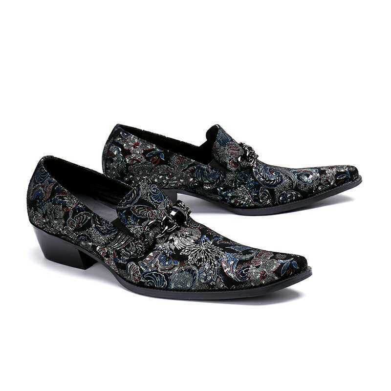 Men Prints Rhinestone Fashion Leather Slip On Business Formal Party shoes Punk