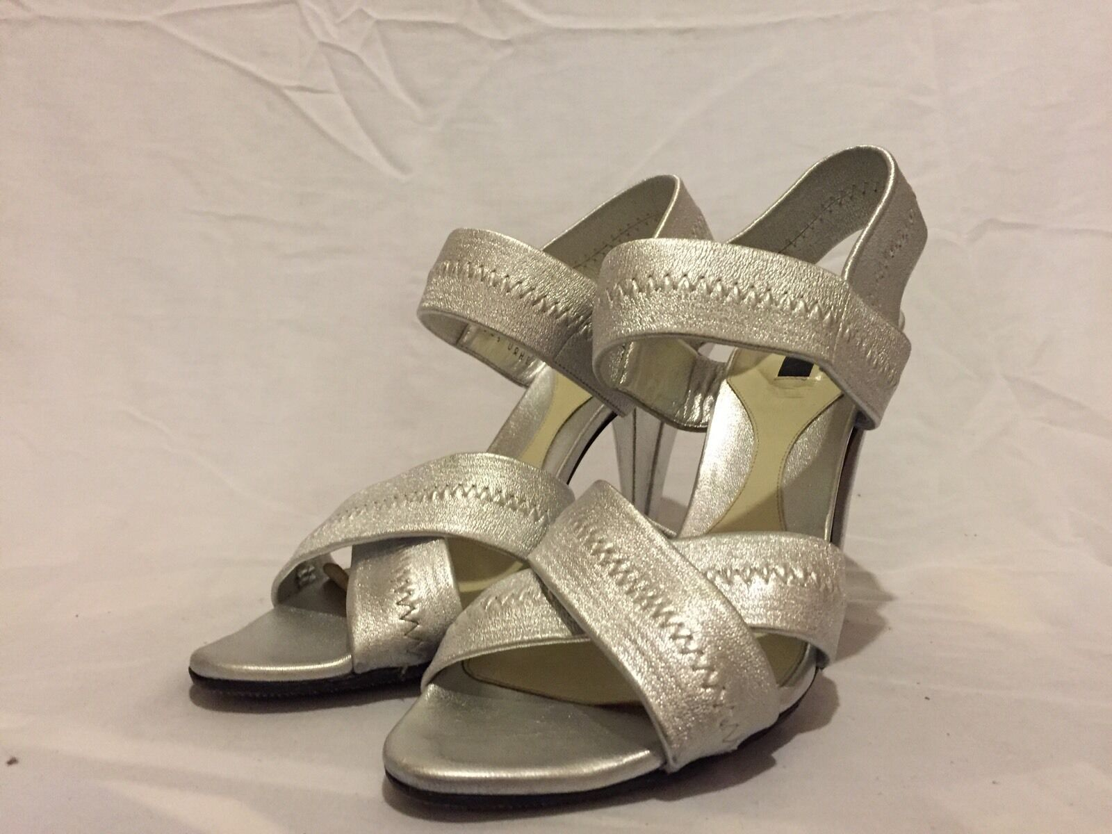 Bally Lynsey Leather Sandals Silver High Heels Us Sz 8 EU 38.5 EUC