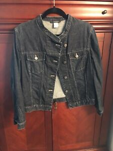 Garnet-Hill-Denim-Jean-Jacket-Chic-Button-Front-Pockets-Mandarin-Collar-Sz-10