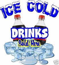 Ice Cold Drinks Sold Here Decal 14 Concession Cart Food Truck Bottle Soda Pop