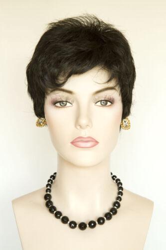 Ash Black Brunette Short Straight Wavy Wigs