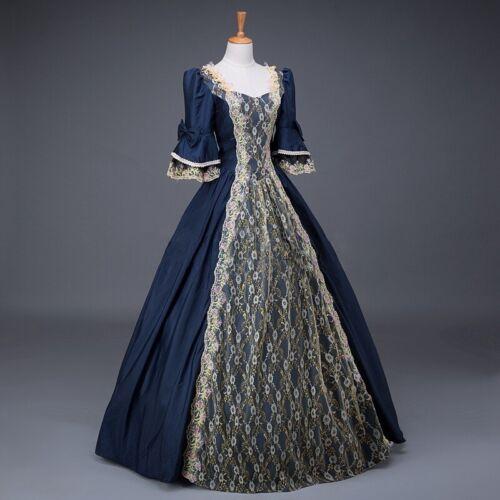 Womens Renaissance Victorian Dress Half Sleeve Ball Gown Vampire Halloween Dress