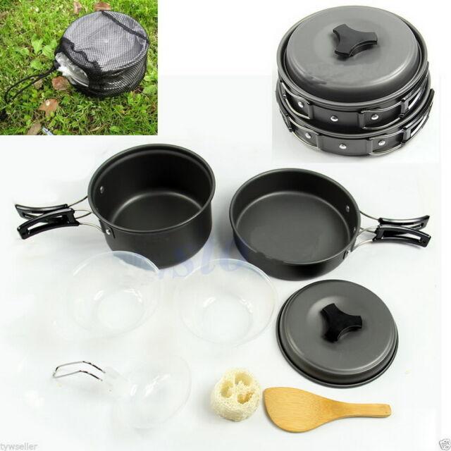 8pcs Outdoor Camping Hiking Cookware Backpacking Cooking Picnic Bowl Pot Pan F5