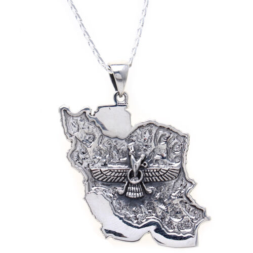 Sterling Silver 925 Persia Map Flag Farvahar Necklace Chain Art Persian Gift