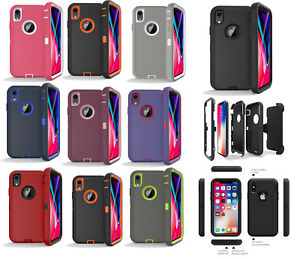 new arrival f6ed0 e2f4e Details about iPhone X/XR/XS/XS MAX Shockproof Case Cover Clip Fits  Otterbox Defender Series